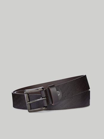 Leather belt with logo