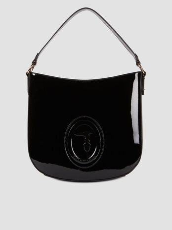 Patent leather hobo bag