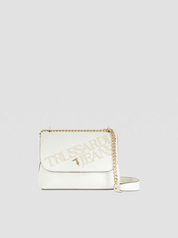 Medium faux leather crossbody bag with studs