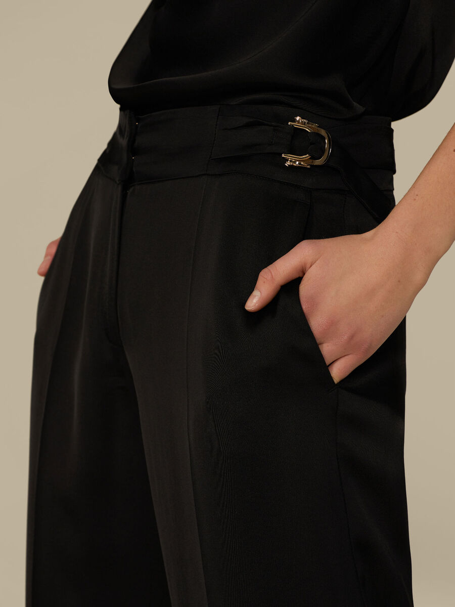 Regular-fit trousers in shiny satin