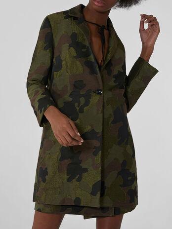 Midi coat in camouflage jacquard