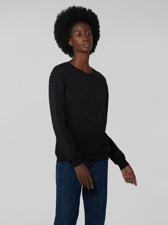 Regular fit cotton sweatshirt with micro crystals