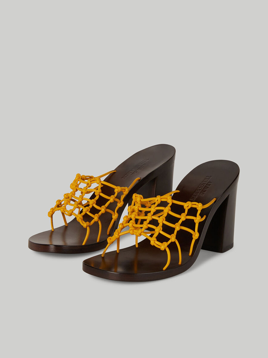 Leather mules with woven band