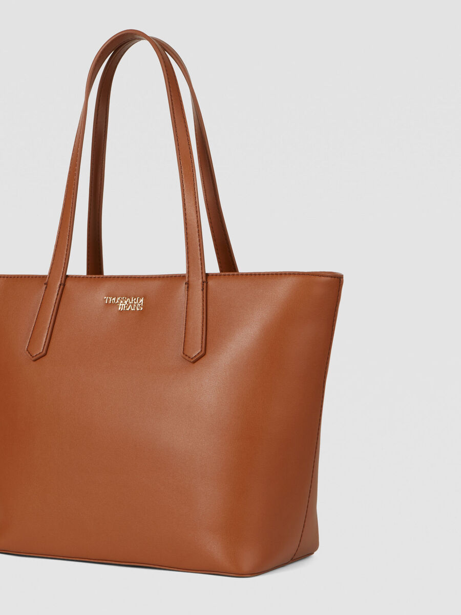 Tote Bag Miss Carry Medium aus Saffianleder mit Charm