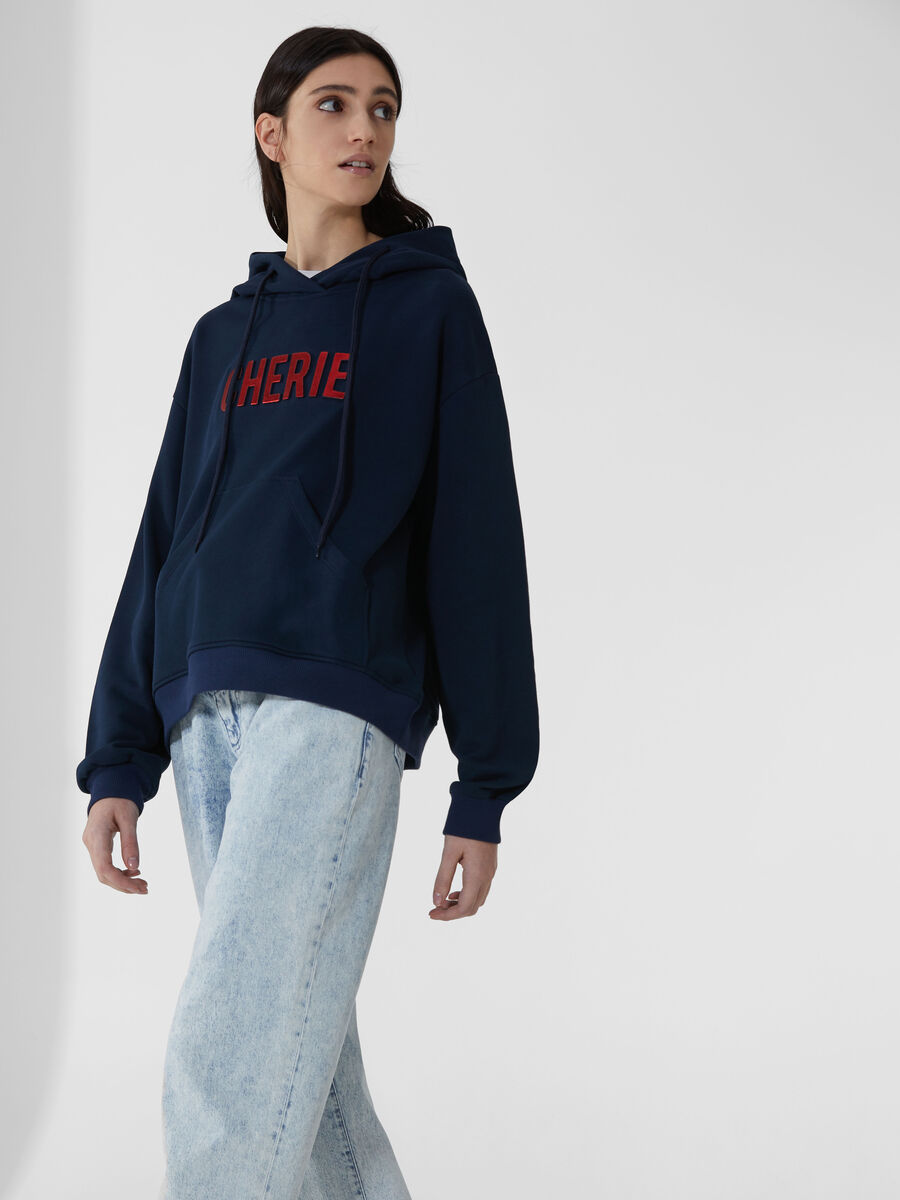 Cotton hoody with lettering