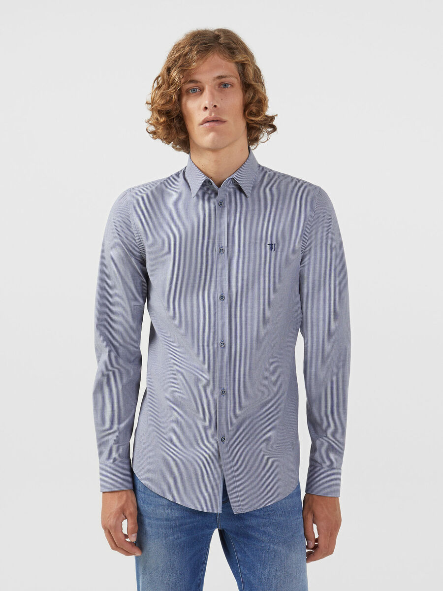 Slim fit striped cotton shirt with Miami collar