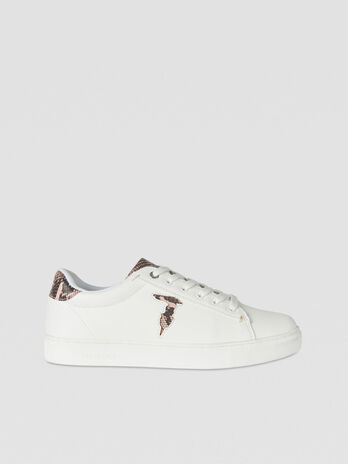 Faux leather sneakers with monogram logo