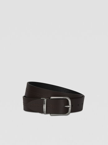 Reversible leather belt with metal buckle