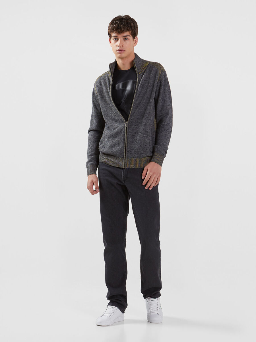 Zip up mouline pullover in a plaited wool blend