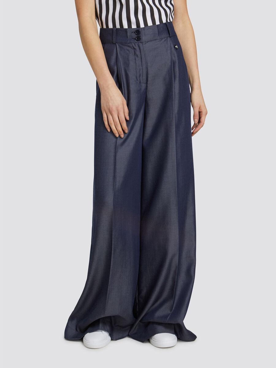 Oversized tencel effect denim trousers with mini logo