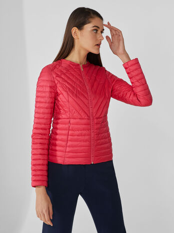 Round-neck down jacket in quilted matte nylon