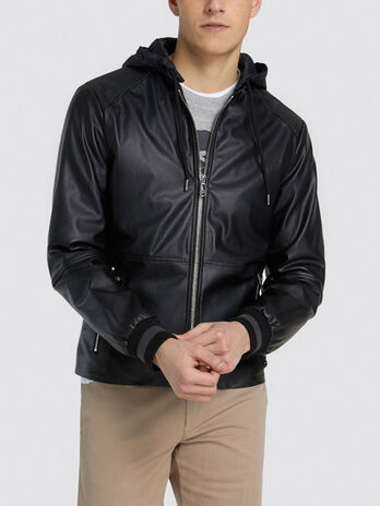 Slim fit faux leather jacket with hood