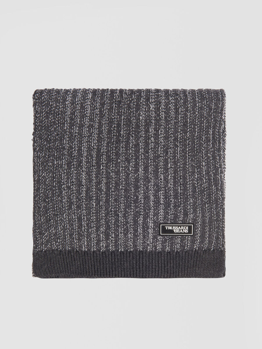 Cashmere blend scarf with logo