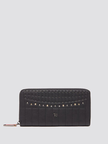 Studded zip around purse