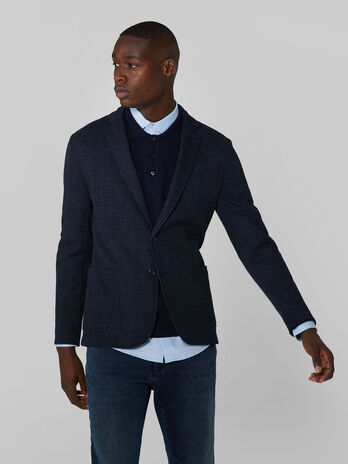 Slim fit chequered jersey blazer