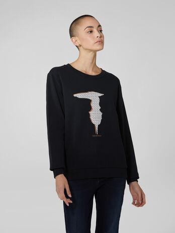 Regular fit cotton sweatshirt with monogram logo