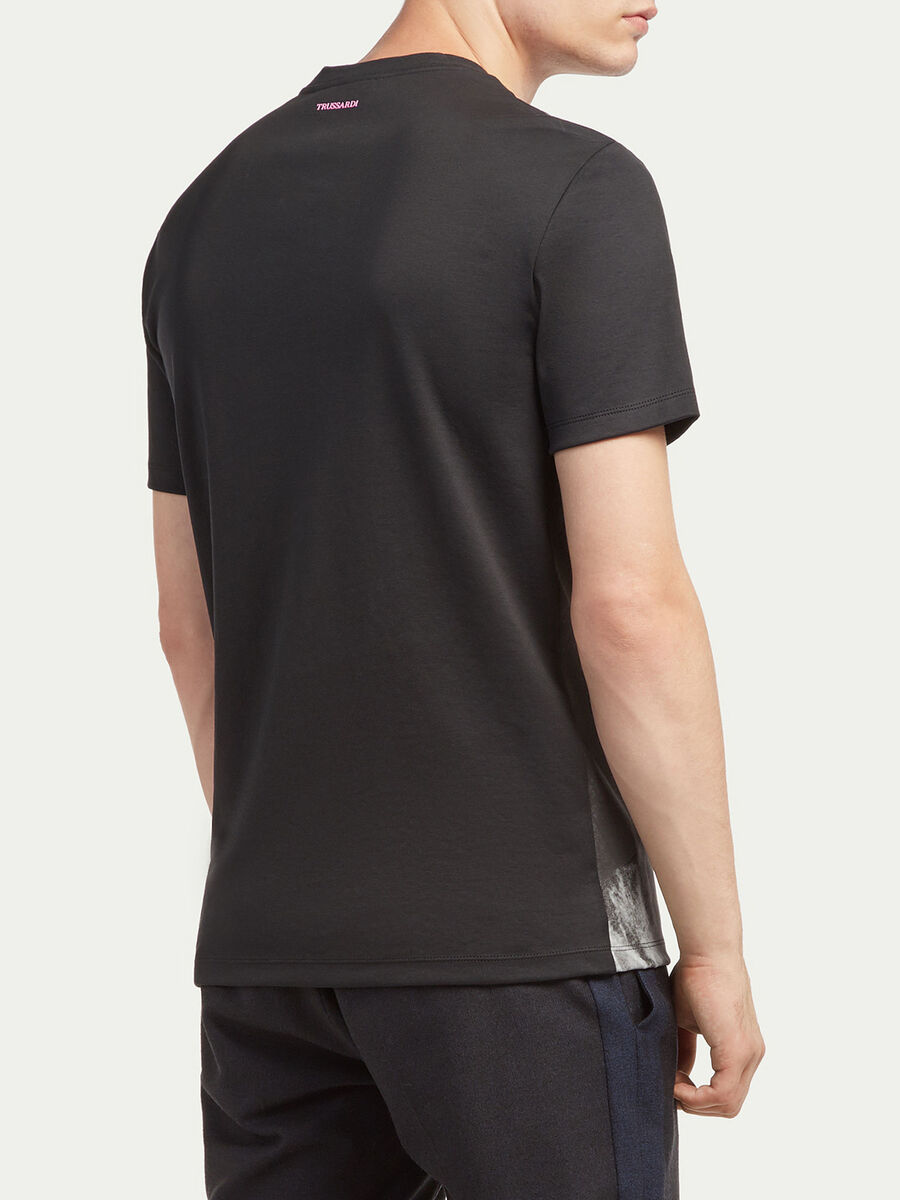 Regular fit printed T shirt in cotton jersey