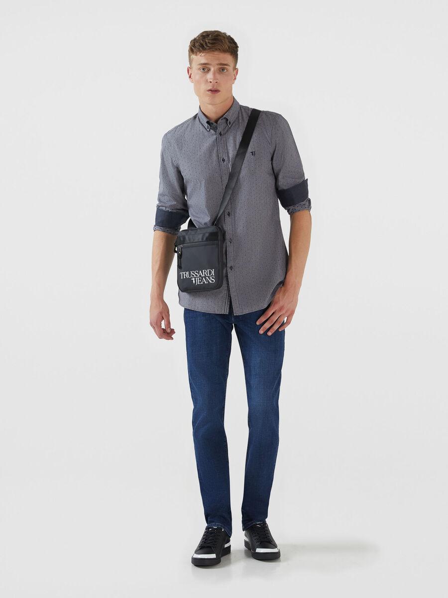 Camicia regular fit in cotone vichy melange