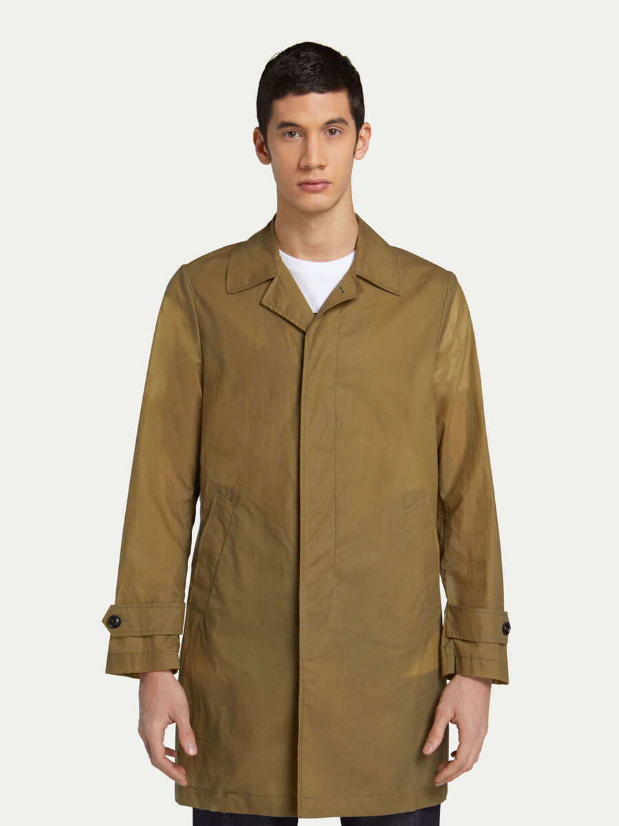 Solid colour trench coat with welt pockets