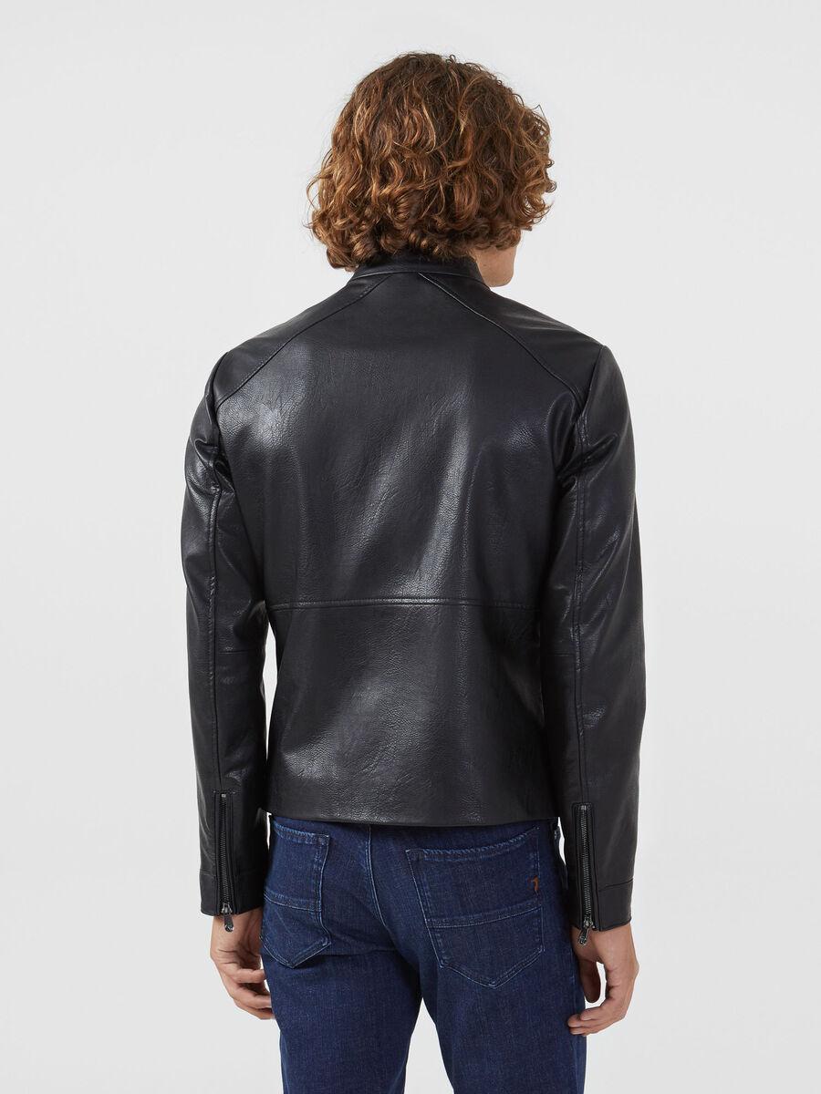 Slim fit faux leather biker jacket