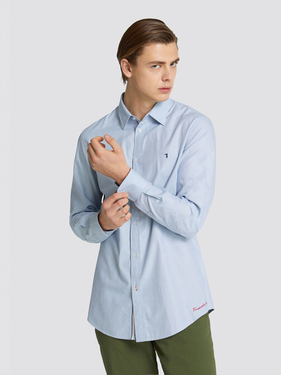 Close fit jacquard shirt with micro wave design