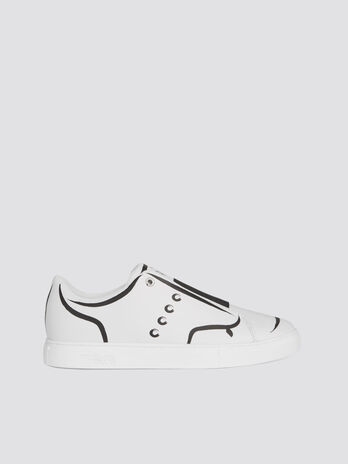 a858b04f733f Sneakers in similpelle bicolor con painting e borchie