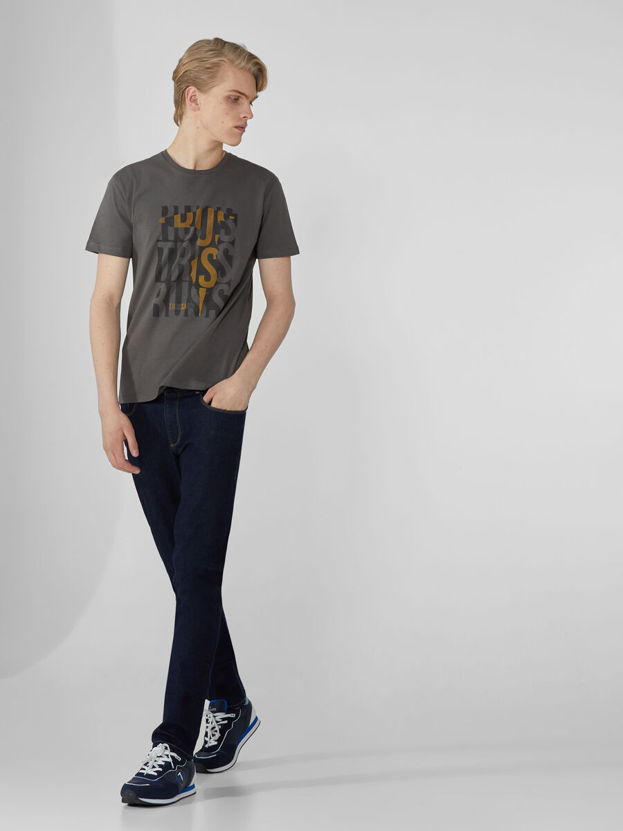 Regular-fit cotton T-shirt with bold print