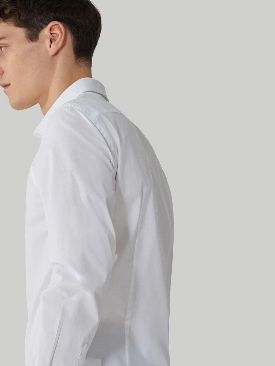 Slim-fit solid-colour stretch poplin shirt