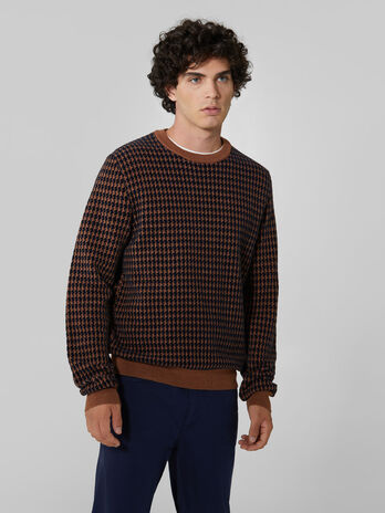 Regular fit wool and chenille crew neck pullover