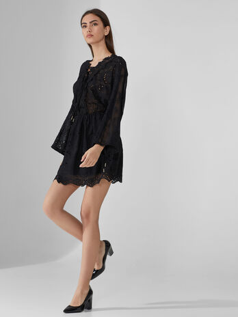 Embroidered crepon mini dress