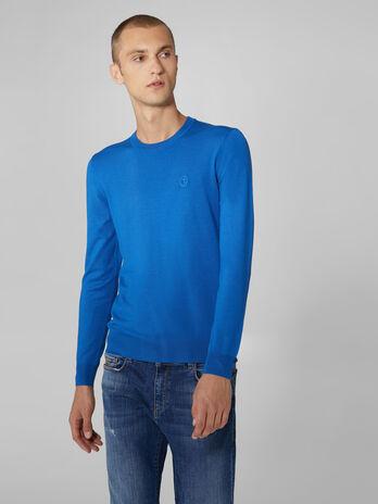 Slim fit viscose blend crew neck pullover