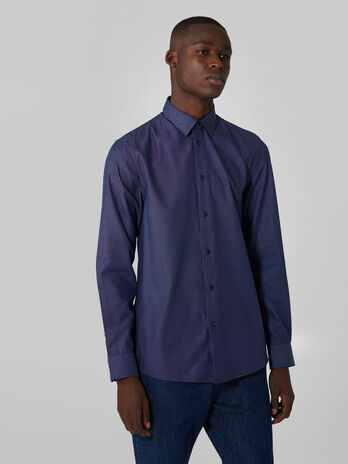 Regular fit end on end cotton shirt
