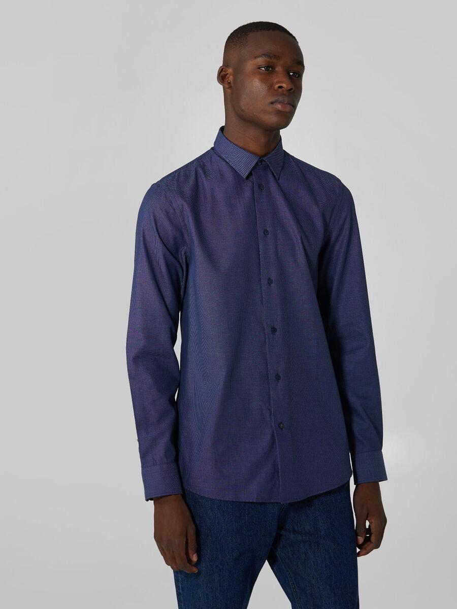 Regular fit end on end cotton shirt