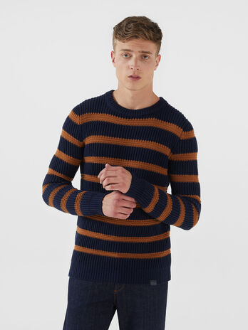 Regular fit striped wool blend pullover