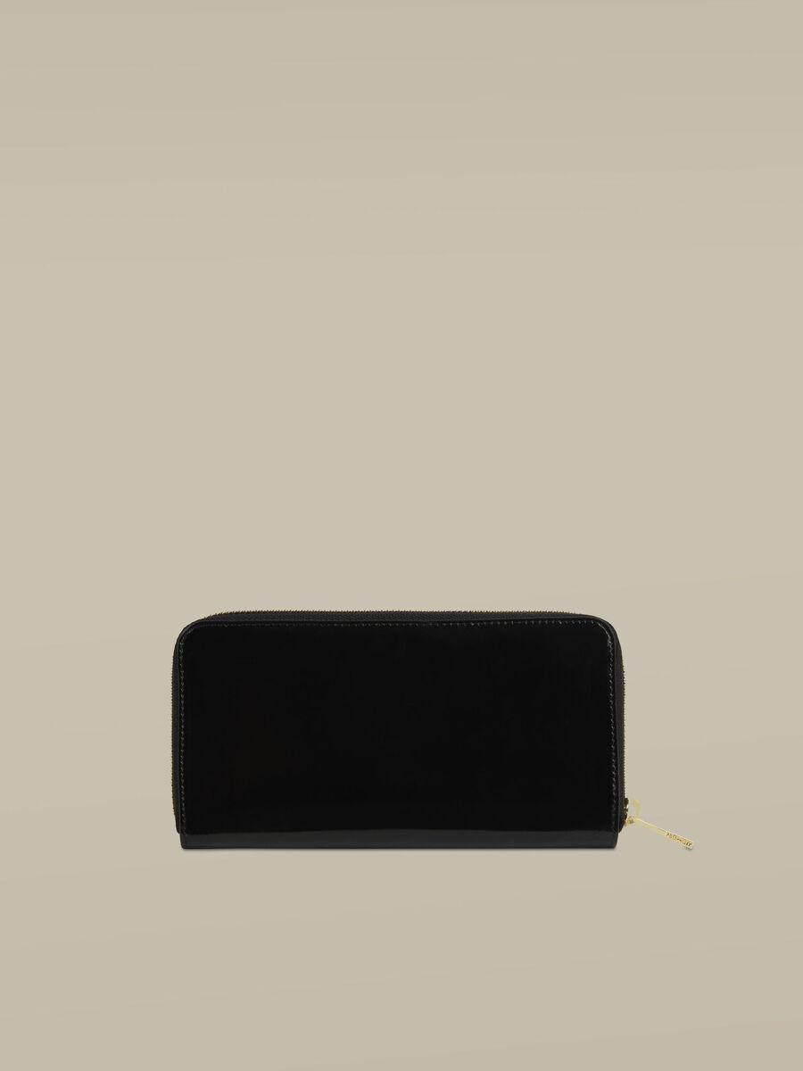 Portefeuille Lovy a contour zippe en cuir brillant
