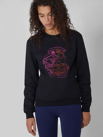 Cotton crew neck sweatshirt with two tone print