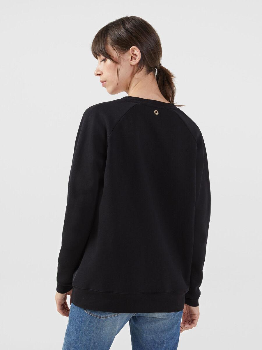 Sweat-shirt coupe classique en coton et similicuir