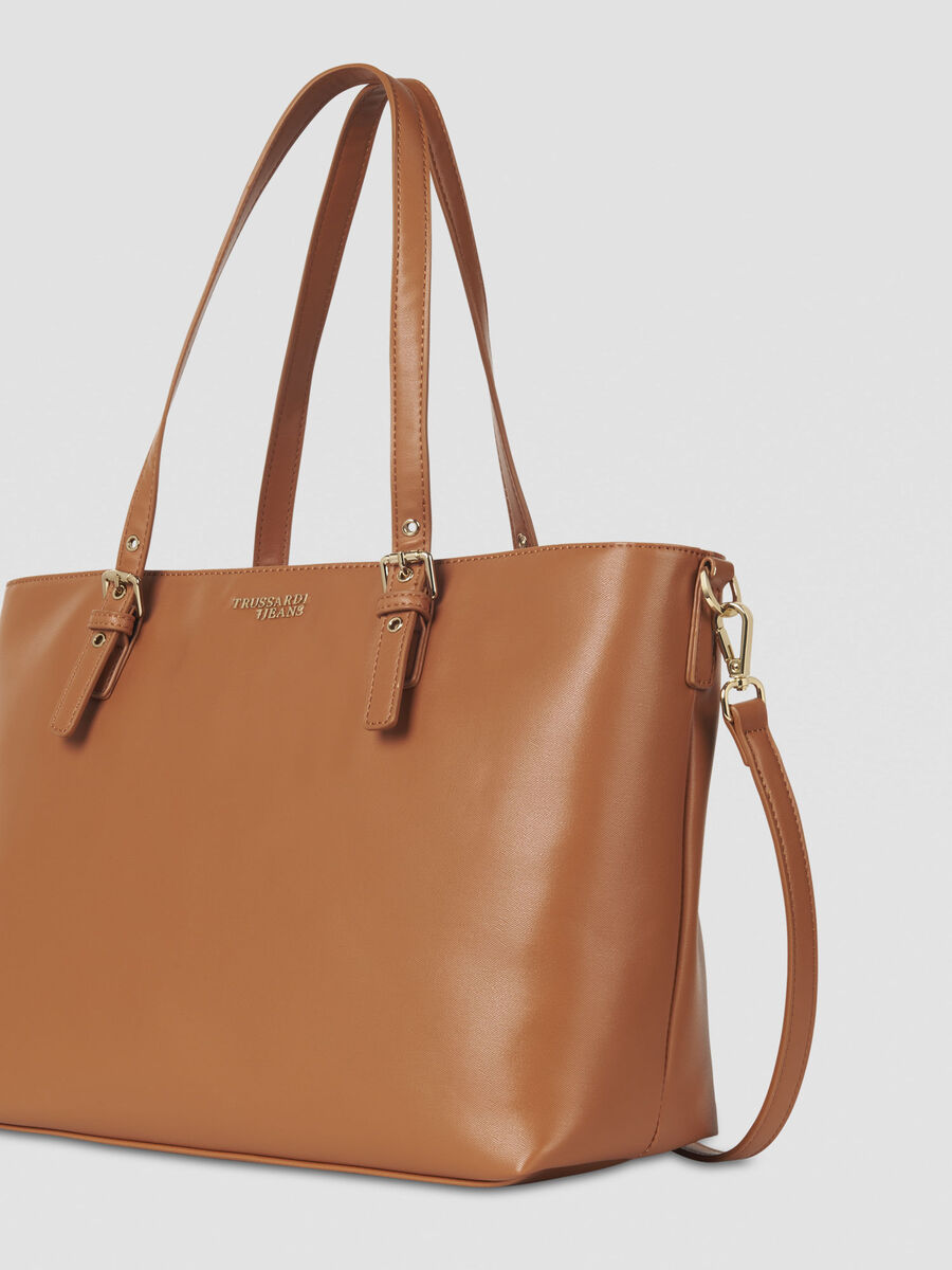 Large Penelope shopping bag in faux leather with charm