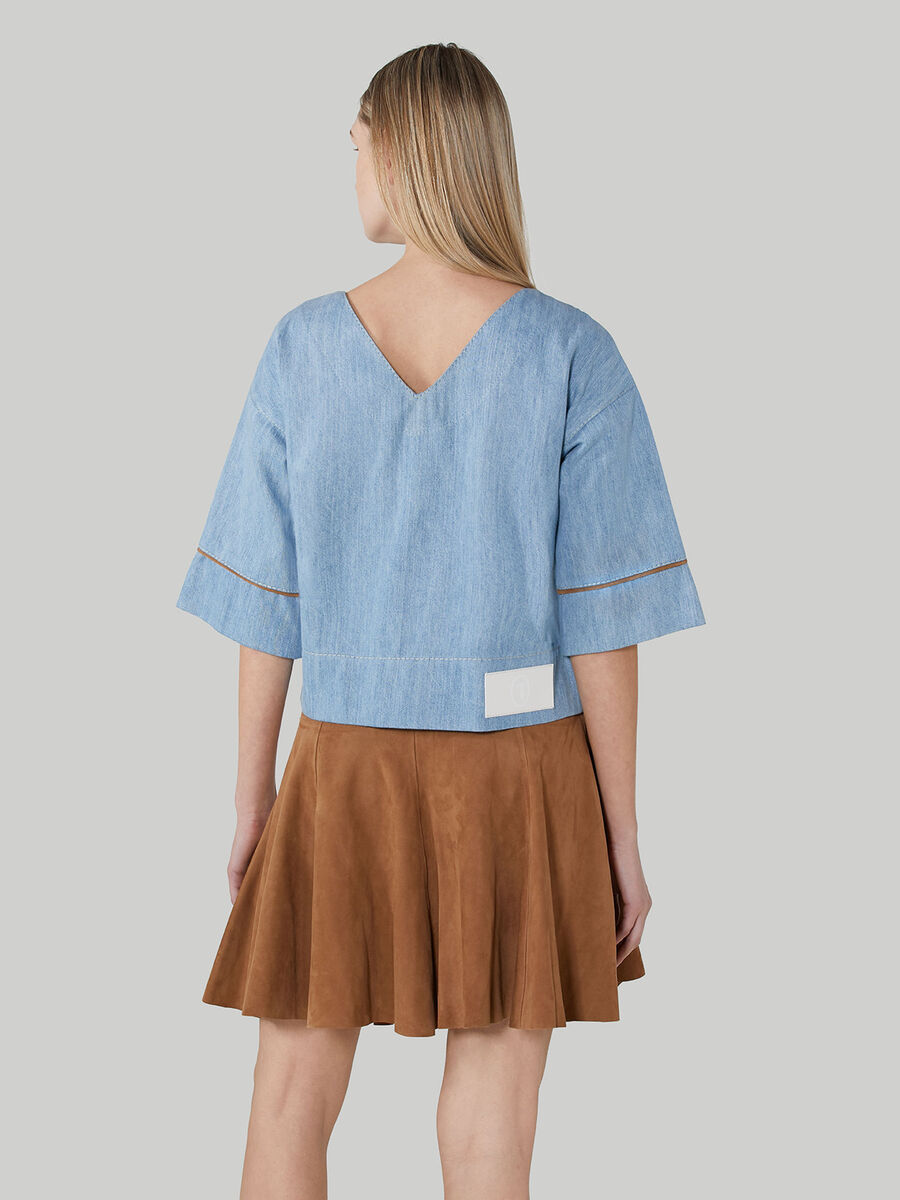 Cropped denim and suede blouse