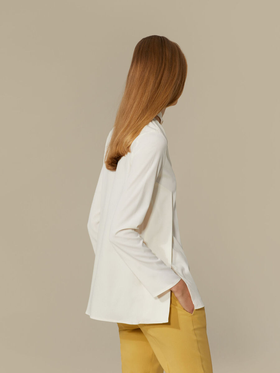 Regular-fit blouse in silk-blend crepe