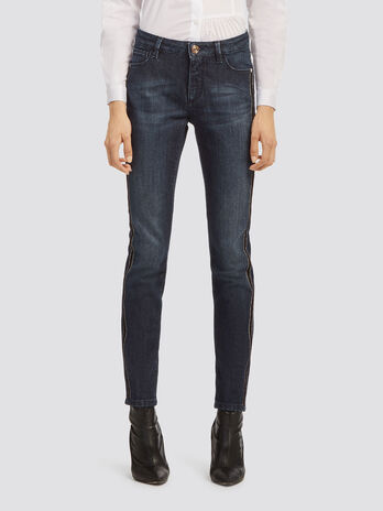 Jeans Skinny Fit Streifen aus Ponyfell