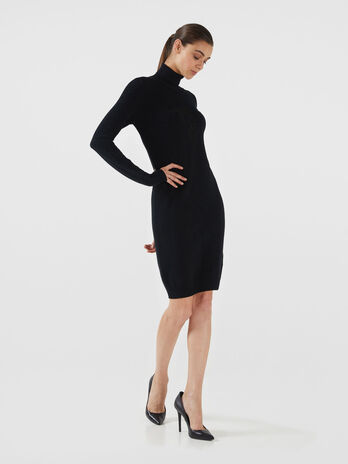 Lurex knit high neck dress with logo