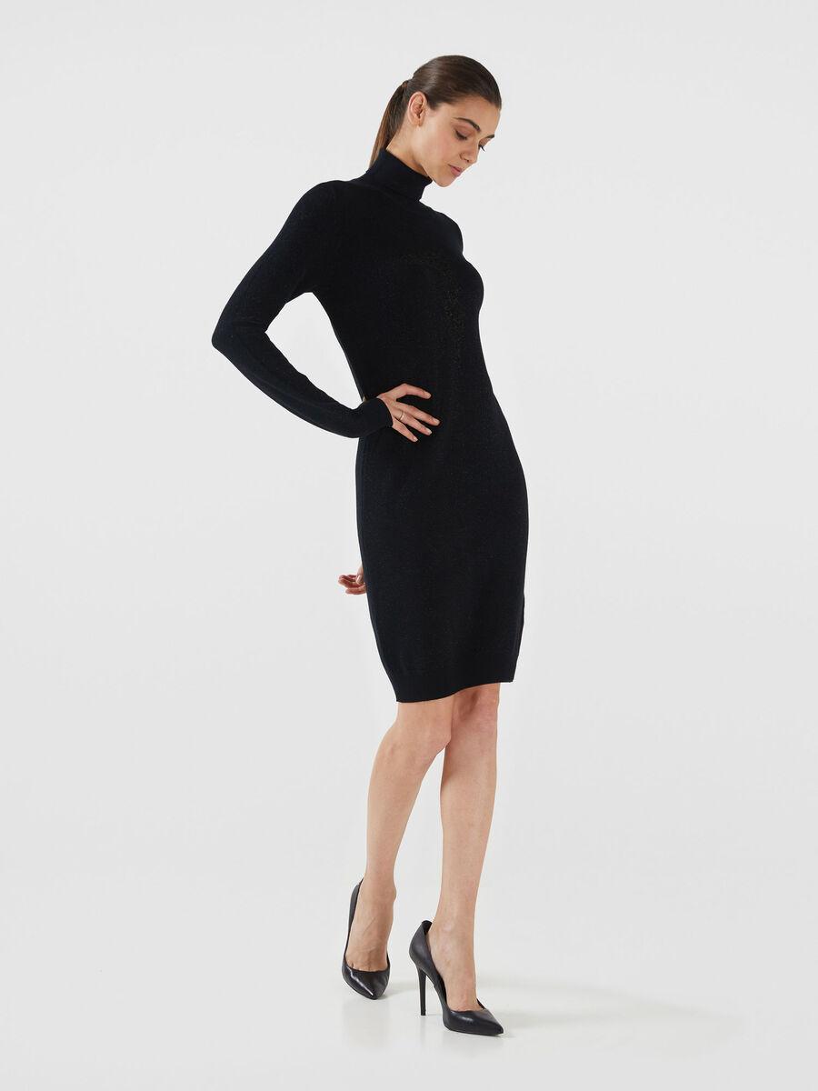 Lurex knit high neck dress with logo