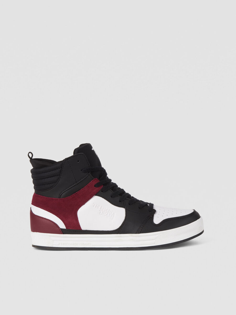 High top running sneakers in monogram faux leather