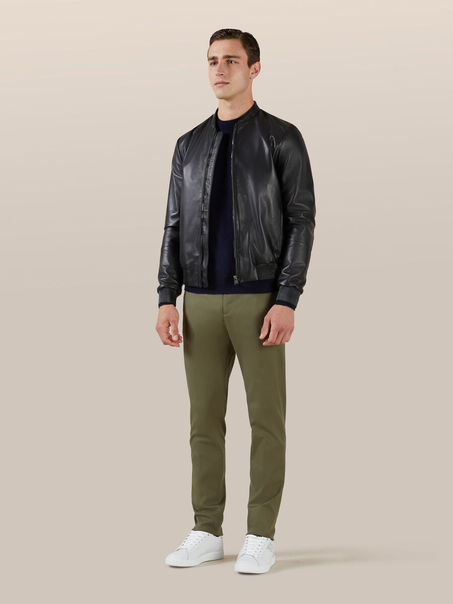 Regular fit matte leather bomber jacket