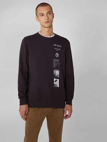 Regular fit cotton sweatshirt with print