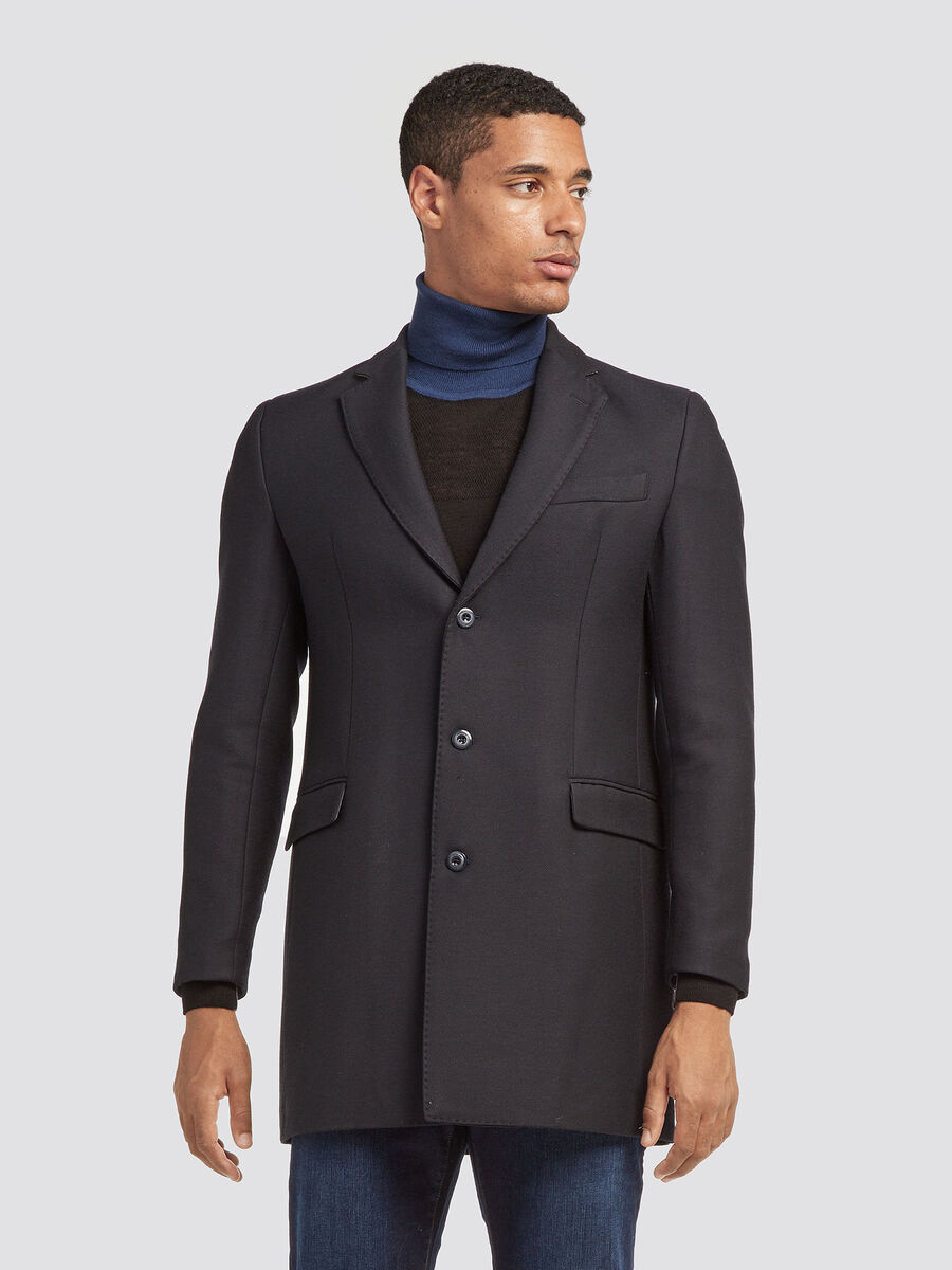 Slim fit coat with diagonal weave