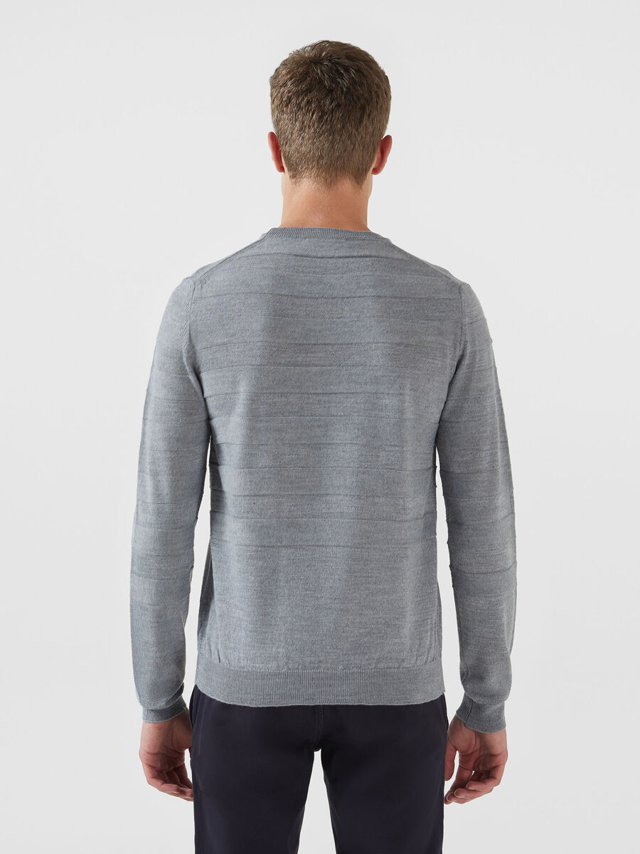 Regular fit solid colour wool blend pullover