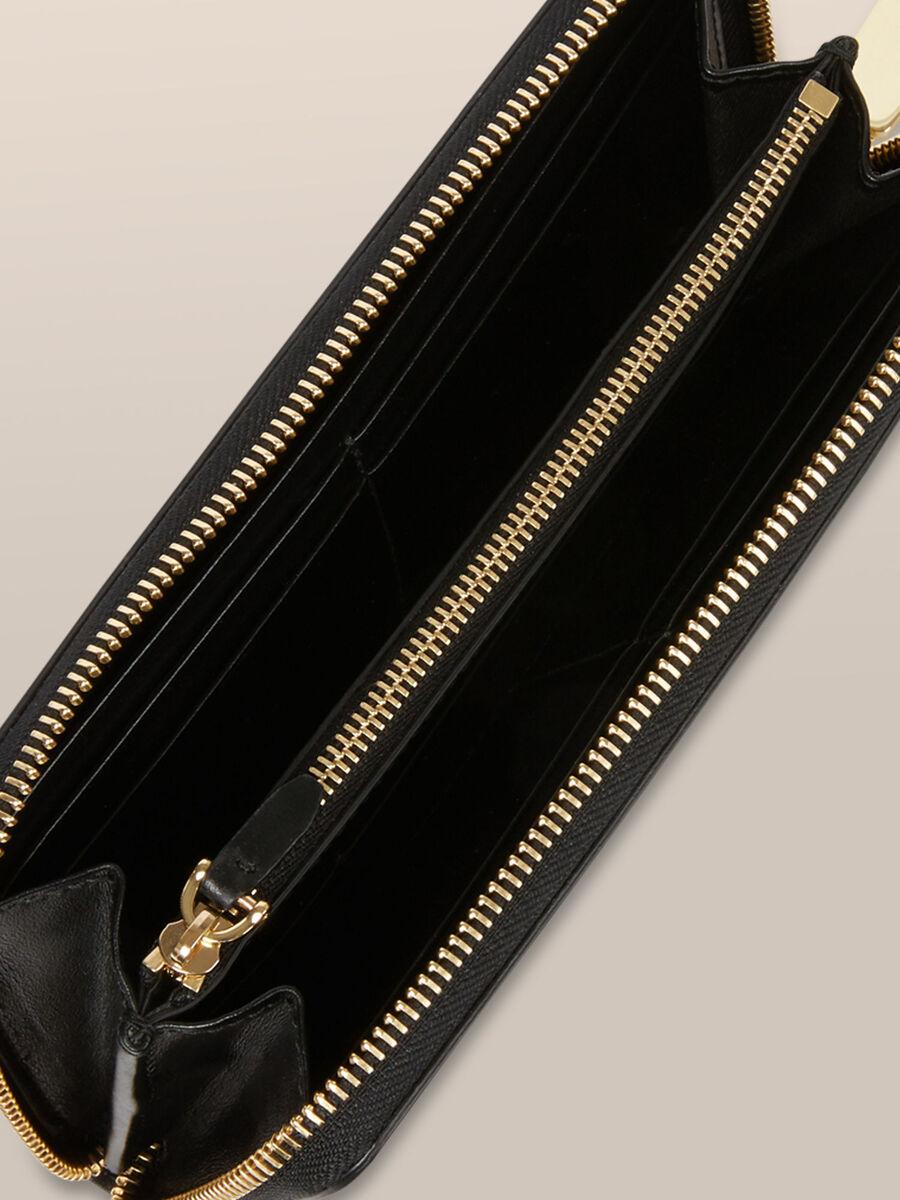 Portefeuille a contour zippe Bianca en cuir elite