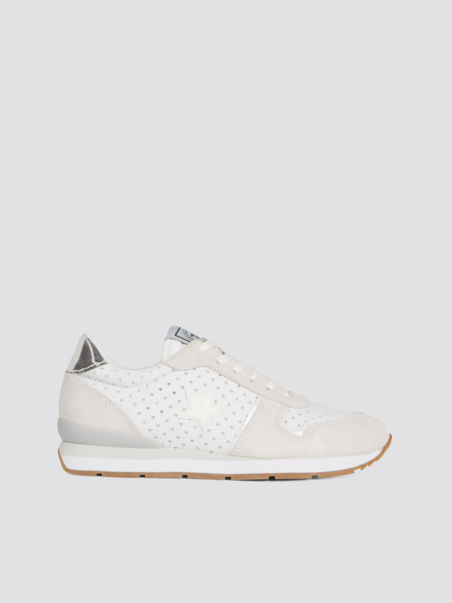 Suede and nylon running sneakers with perforated stars
